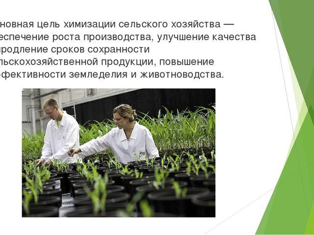 Основная цель химизации сельского хозяйства — обеспечение роста производства,...