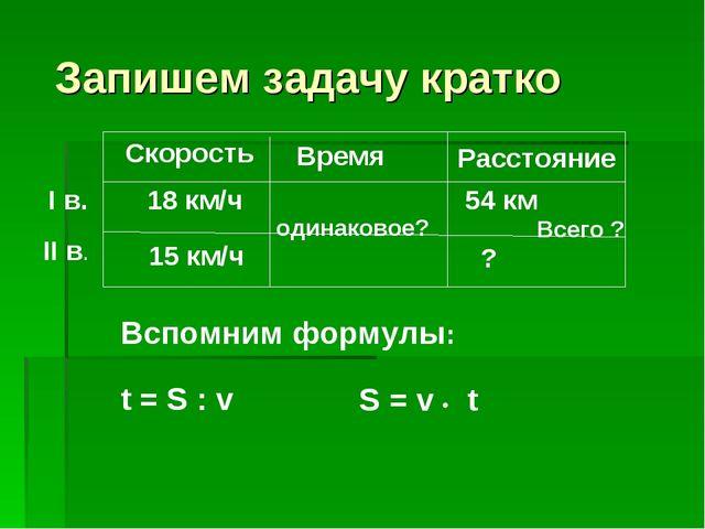 Запишем задачу кратко Скорость Время Расстояние 18 км/ч одинаковое? 15 км/ч...