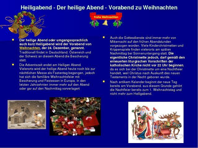 Heiligabend - Der heilige Abend - Vorabend zu Weihnachten Der heilige Abend o...
