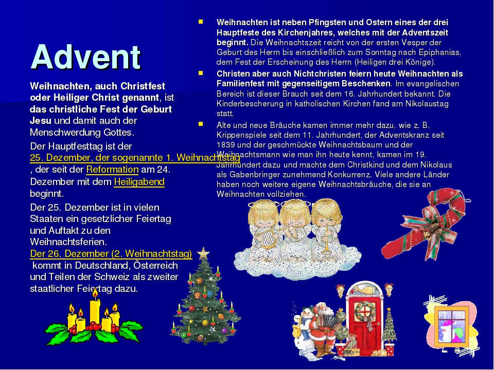 Advent Weihnachten ist neben Pfingsten und Ostern eines der drei Hauptfeste d...