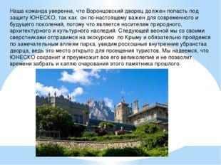 Наша команда уверенна, что Воронцовский дворец должен попасть под защиту ЮНЕС