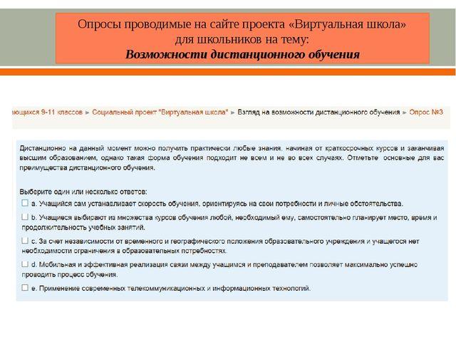 Опросы проводимые на сайте проекта «Виртуальная школа» для школьников на тему...