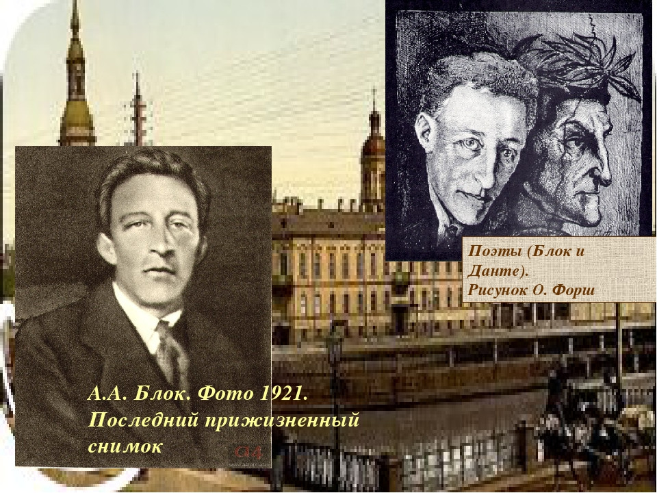 Поэты (Блок и Данте). Рисунок О. Форш А.А. Блок. Фото 1921. Последний прижизн...