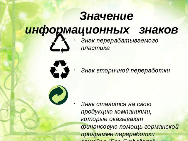 Значение информационных знаков Знак перерабатываемого пластика Знак вторично...