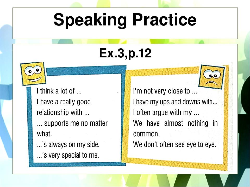 Speaking Practice Ex.3,p.12