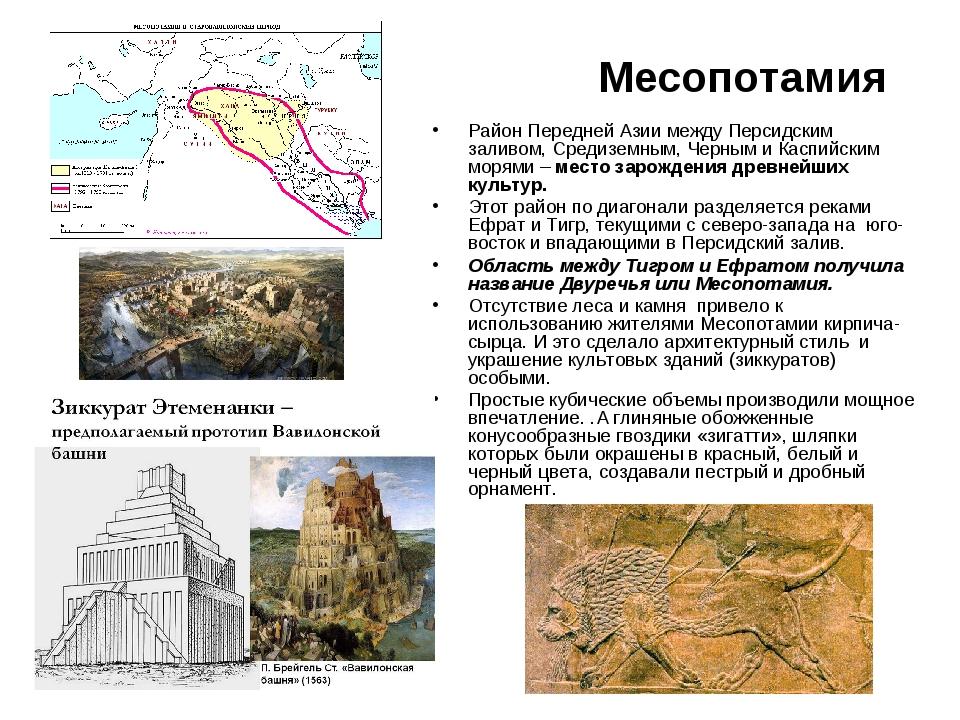 Месопотамия Район Передней Азии между Персидским заливом, Средиземным, Черным...