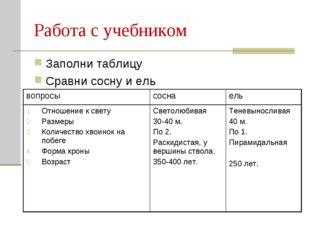 Работа с учебником Заполни таблицу Сравни сосну и ель вопросысоснаель Отнош