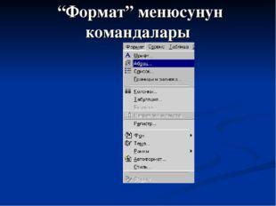 """""""Формат"""" менюсунун командалары"""