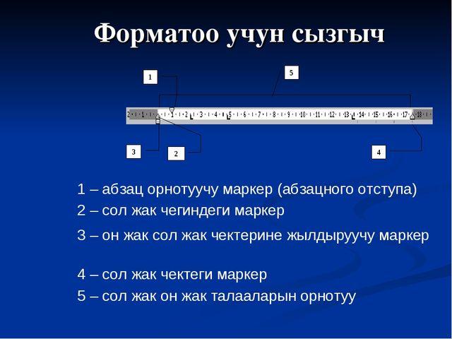 Форматоо учун сызгыч 1 – абзац орнотуучу маркер (абзацного отступа) 2 – сол ж...