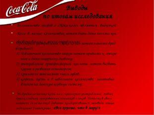 Выводы по итогам исследования Большинство мифов о «Кока-коле» являются выдумк