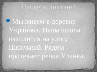 Мы живем в деревне Украинка. Наша школа находится на улице Школьной. Рядом пр