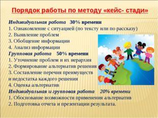 Порядок работы по методу «кейс- стади» Индивидуальная работа 30% времени 1.