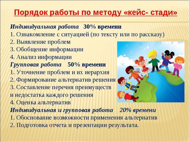 Порядок работы по методу «кейс- стади» Индивидуальная работа 30% времени 1....