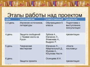 Этапы работы над проектом * * срокмероприятиеответственныйрезультат 1-3 де