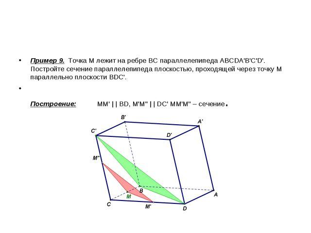 Пример 9. Точка М лежит на ребре ВС параллелепипеда ABCDA'B'C'D'. Постройте с...