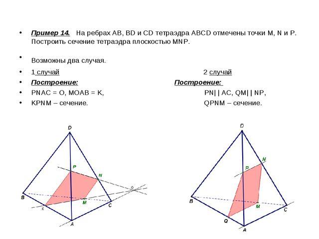 Пример 14. На ребрах АВ, BD и CD тетраэдра ABCD отмечены точки М, N и Р. Пост...