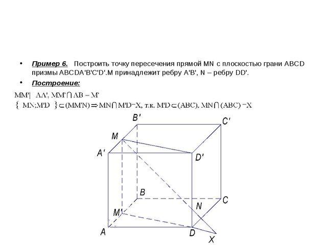 Пример 6. Построить точку пересечения прямой MN с плоскостью грани ABCD призм...