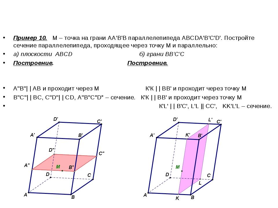 Пример 10. М – точка на грани АА'В'В параллелепипеда ABCDA'B'C'D'. Постройте...