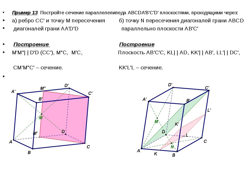 Пример 13 Постройте сечение параллелепипеда АВСDA'B'C'D' плоскостями, проходя...