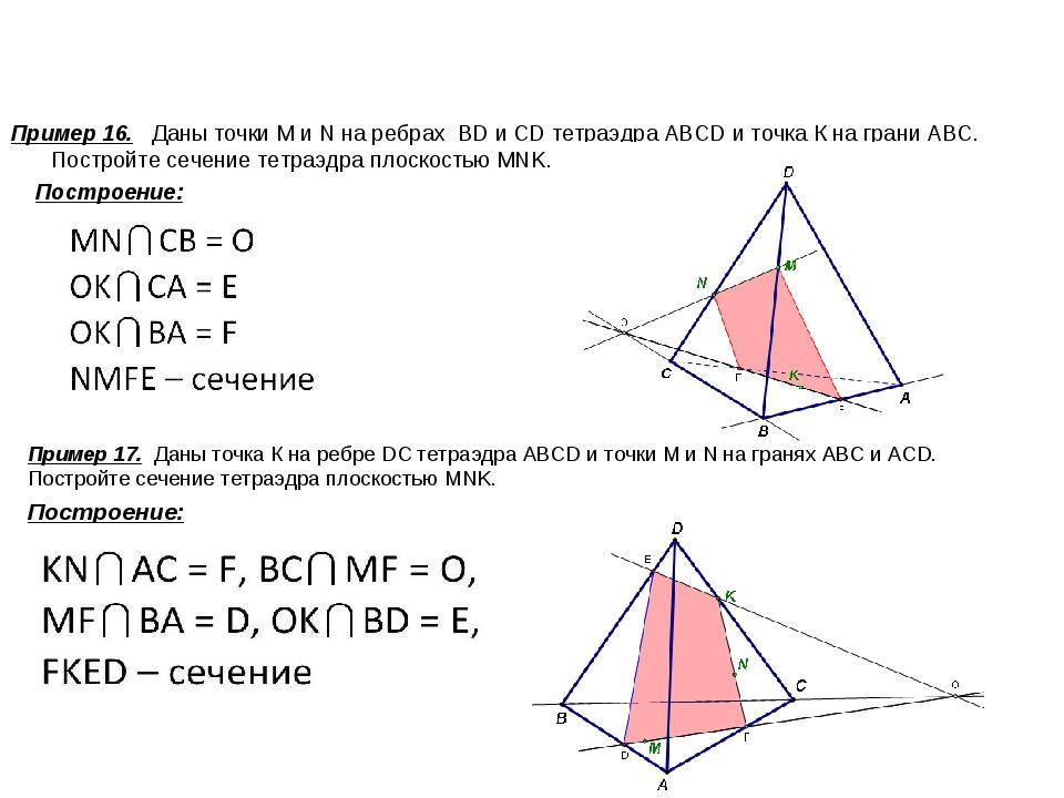 Пример 16. Даны точки М и N на ребрах BD и CD тетраэдра ABCD и точка К на гр...