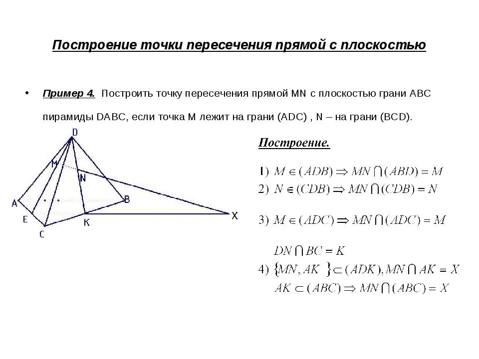 Построение точки пересечения прямой с плоскостью Пример 4. Построить точку пе...