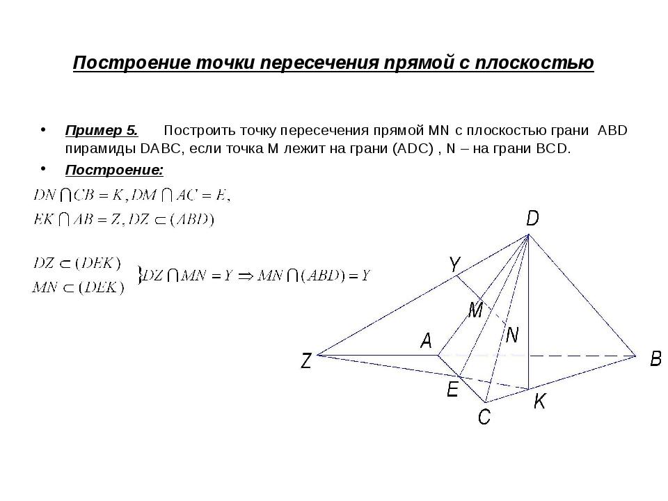 Построение точки пересечения прямой с плоскостью Пример 5. Построить точку пе...