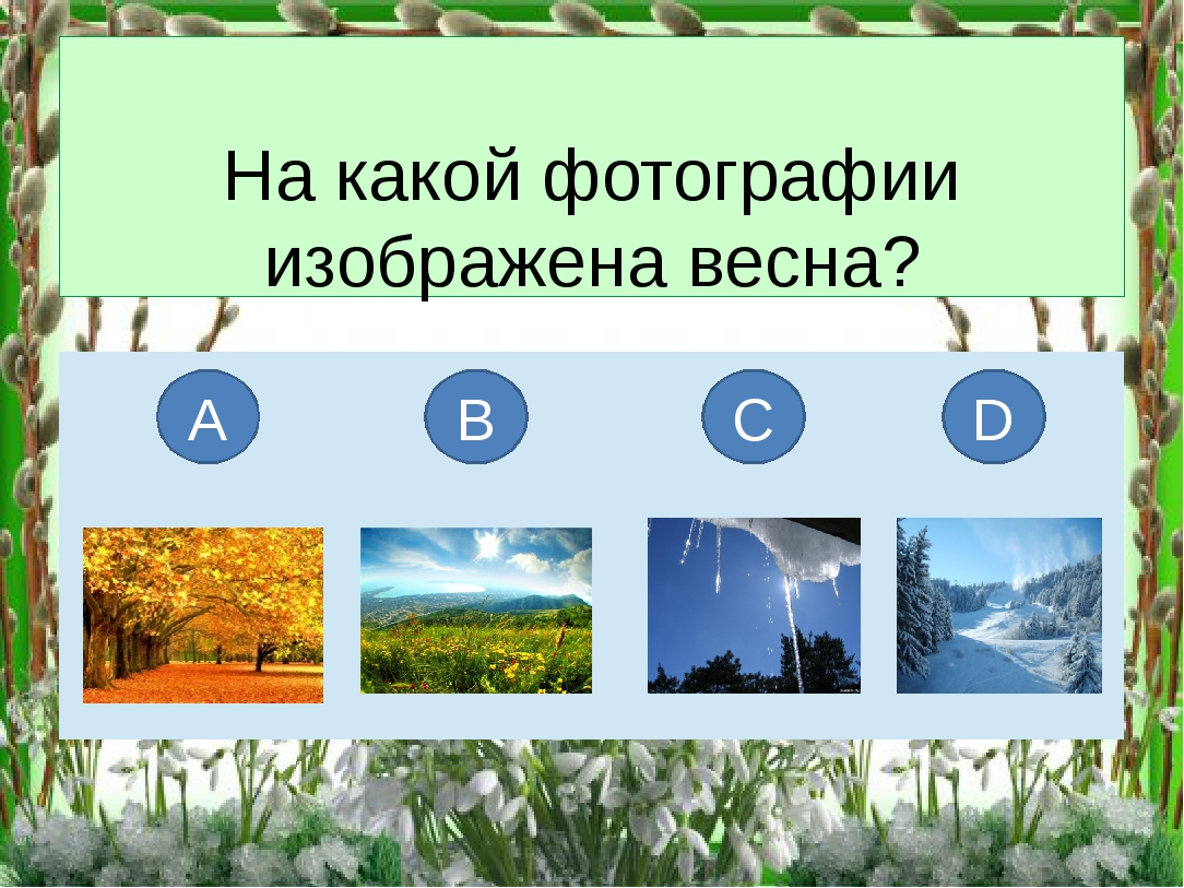 На какой фотографии изображена весна? А В С D