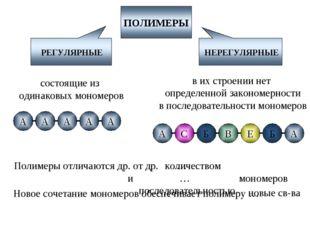 РЕГУЛЯРНЫЕ НЕРЕГУЛЯРНЫЕ состоящие из одинаковых мономеров в их строении нет о