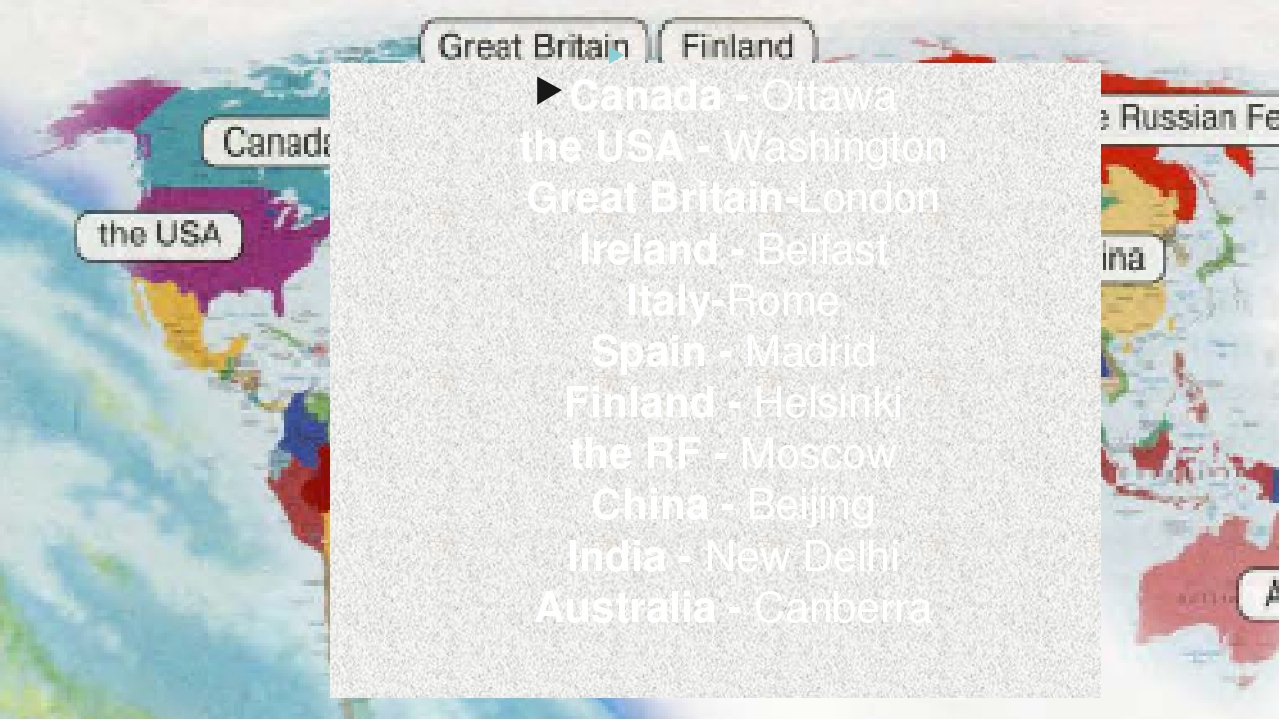 Canada - Ottawa the USA - Washington Great Britain-London Ireland - Belfast I...