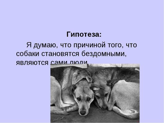 Гипотеза: Я думаю, что причиной того, что собаки становятся бездомными, яв...