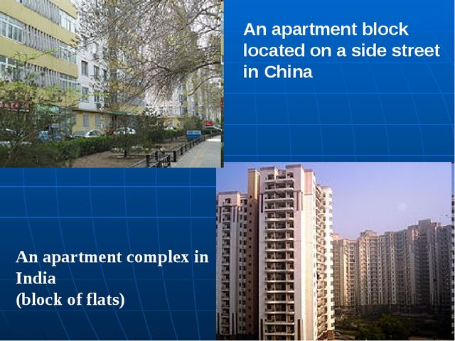 An apartment complex in India (block of flats) An apartment block located on...