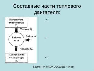 Составные части теплового двигателя: - - - Бавкун Т.Н. МБОУ ОСОШ№3 г. Очер