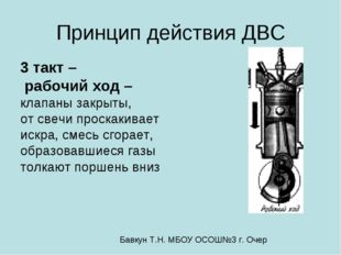 Принцип действия ДВС 3 такт – рабочий ход – клапаны закрыты, от свечи проскак