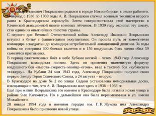 Александр Иванович Покрышкин родился в городе Новосибирске, в семье рабочего.