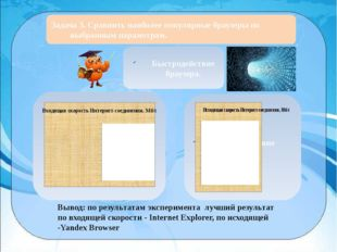 Задача 3. Сравнить наиболее популярные браузеры по выбранным параметрам. Быс