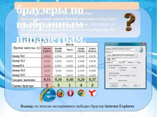 Эксперимент 1. Время запуска браузера. Цель испытания: какой браузер запуска