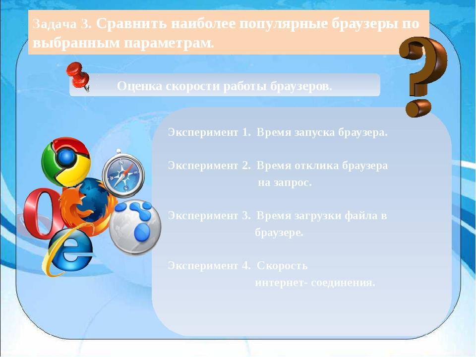 Задача 3. Сравнить наиболее популярные браузеры по выбранным параметрам. Оце...