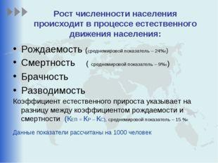 Рост численности населения происходит в процессе естественного движения насел
