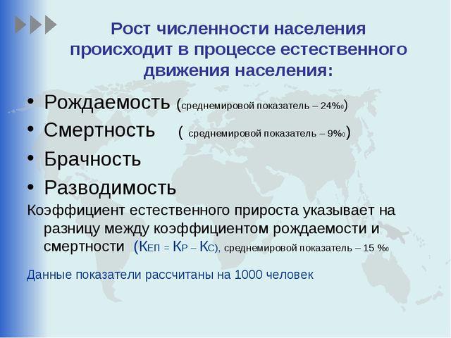 Рост численности населения происходит в процессе естественного движения насел...