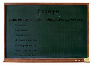 Словари Лингвистические Энциклопедические Толковые Синонимов Антонимов Фразе