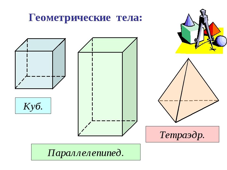 Геометрические тела: Куб. Параллелепипед. Тетраэдр.