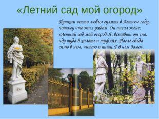 «Летний сад мой огород» Пушкин часто любил гулять в Летнем саду, потому что ж