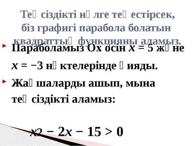 Параболамыз Ох осін x = 5 және x = −3 нүктелерінде қияды. Жақшаларды ашып, мы...