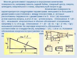 Многие детали имеют наружные и внутренние конические поверхности, например п