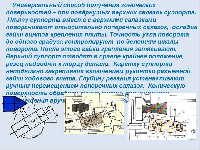 Универсальный способ получения конических поверхностей – при повёрнутых верх...