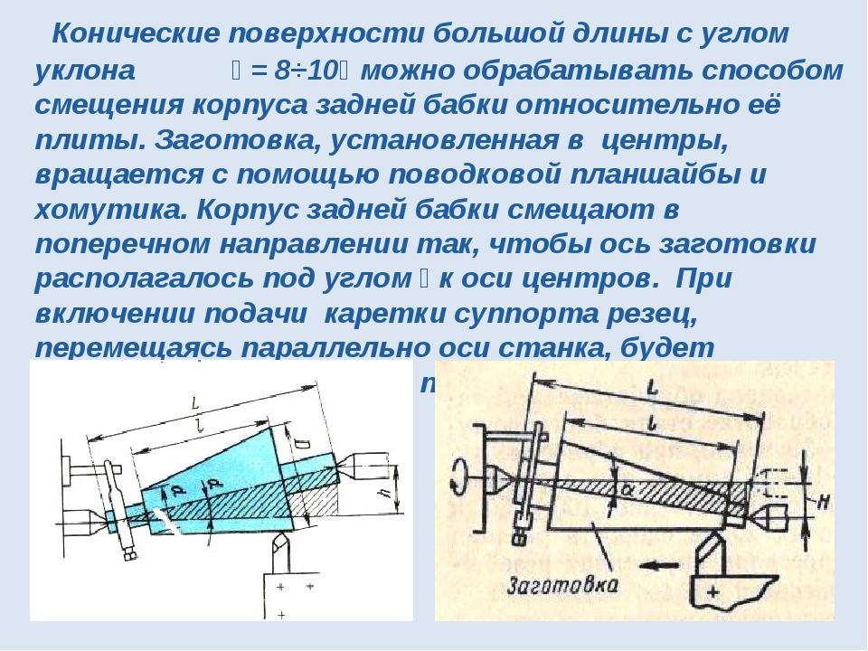 Конические поверхности большой длины с углом уклона