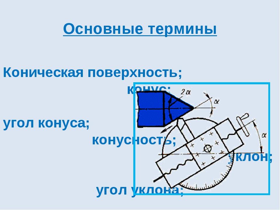 Основные термины Коническая поверхность; конус; угол конуса; конусность; укл...