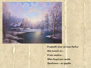 В царство зимы мы тихо входим Вот зимний лес… В него заходим… Идти вперед нам