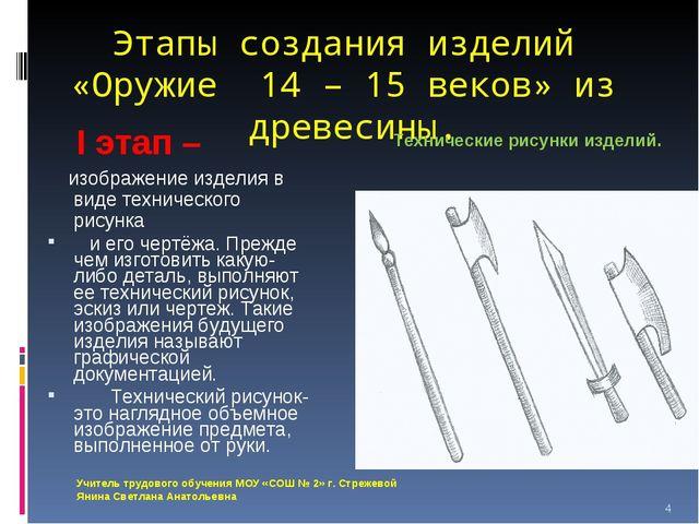 Этапы создания изделий «Оружие 14 – 15 веков» из древесины. Технические рисун...