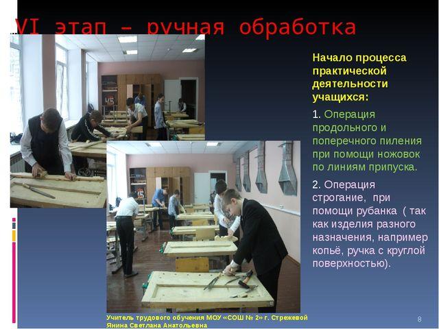 VI этап – ручная обработка изделия Начало процесса практической деятельности...